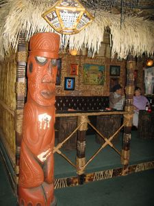 Tiki carved by Oceanic Arts' Leroy Schmaltz at Frankie's Tiki Room in Las Vegas