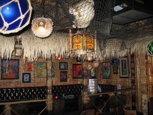 Seating area at Frankie's Tiki Room in Las Vegas