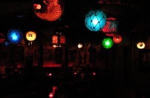 Glowing lamps at Frankie's Tiki Room in Las Vegas