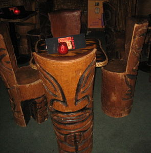 Carved tiki seating at Frankie's Tiki Room in Las Vegas