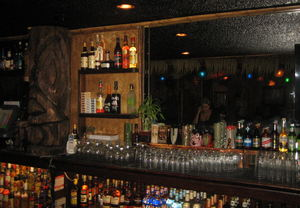 The bar at Frankie's Tiki Room in Las Vegas