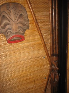 Door to the ladies' room at Frankie's Tiki Room in Las Vegas