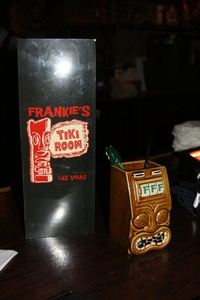Drink menu and mug at Frankie's Tiki Room in Las Vegas
