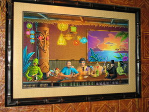 """A Night Out at Frankie's"" original painting by Doug Horne at Frankie's Tiki Room in Las Vegas"
