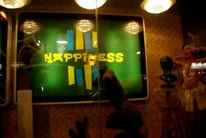 Part of the sign for Trailer Happiness in London