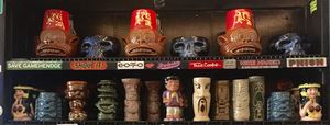 Tiki mugs at Fong's Pizza in Des Moines