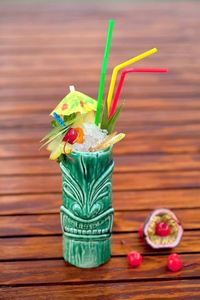 Tropical cocktail served in a tiki mug at Tiki Bar in Moscow