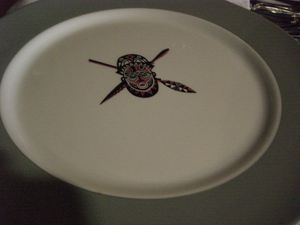 Serveware with the Trader Vic's logo at El Polinesio in Havana