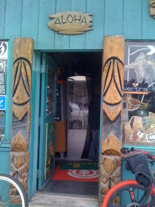 Tall Bosko tikis guard the entrance to Aqua Surf Shop in San Francisco