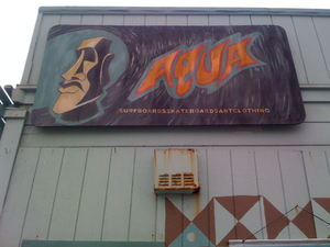 Sign on the side of Aqua Surf Shop in San Francisco