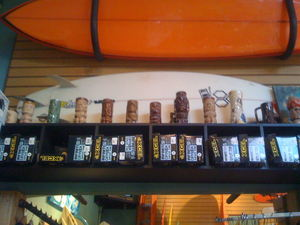 Tiki mugs at Aqua Surf Shop in San Francisco