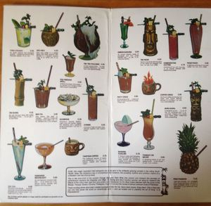 Cocktail menu from Tiki Tiki in Edmonton