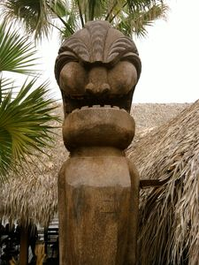 One of the large tikis outside of Chuy's Hula Hut in Austin