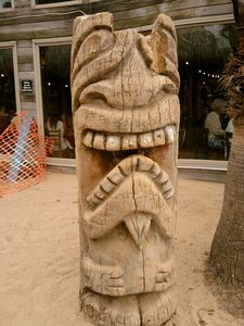 Large tiki outside of Chuy's Hula Hut in Austin