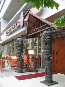 Entrance, with tikis by Tiki Diablo at Trader Vic's in Los Angeles