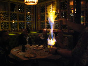 Flaming drink at Trader Vic's in Los Angeles