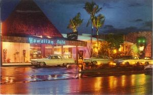 Postcard (with glowing tiki mask on the right) from Hawaiian Isle in Miami Beach