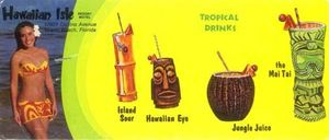 Brochure showing some drinks available at Hawaiian Isle in Miami Beach