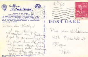 Back of a postcard from The Castaways in Miami Beach