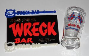 Bar glass, postcard & swizzle sticks from The Castaways in Miami Beach