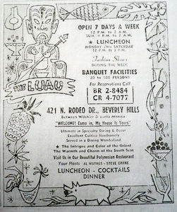 Phone book ad for The Luau in Beverly Hills