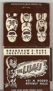 Matchbook from The Luau in Beverly Hills