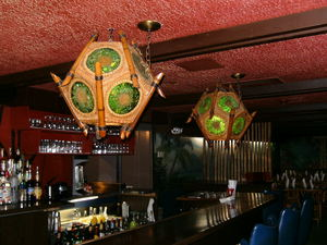 Lights above the bar at Luau Hale in Lenox