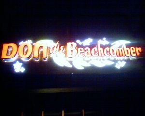 Sign at the entrance to Don the Beachcomber in Huntington Beach