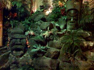 Tiki fountain in the rear banquet room (the Hidden Village) at Don the Beachcomber in Huntington Beach