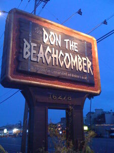 Road sign for Don the Beachcomber in Huntington Beach