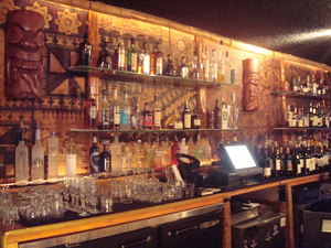 Behind the bar at Don the Beachcomber in Huntington Beach