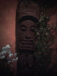 Tiki near the front desk at Don the Beachcomber in Huntington Beach