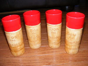 Set of handmade Vermonde ceramic bamboo mugs from Don the Beachcomber in Hollywood
