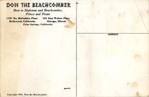 Reverse side of a postcard from Don the Beachcomber in Hollywood