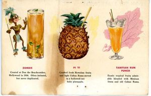 Postcard with drink menu artwork from Don the Beachcomber in Hollywood
