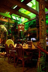 Carved post and Dining area at KonTiki in N�rnberg