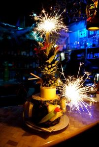 The KonTiki Special Drink�with sparklers�at KonTiki in N�rnberg