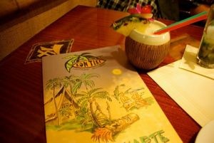 Menu and drink in a coconut mug at KonTiki in N�rnberg