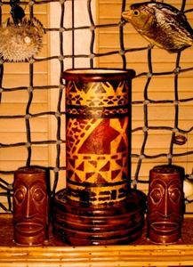 Tapa lamp made by Tikiskip for The 'Ohana Be Gonna Lounge in Columbus
