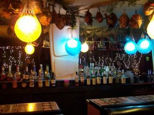 Back of the bar at Mai Kai Lounge in Tecumseh