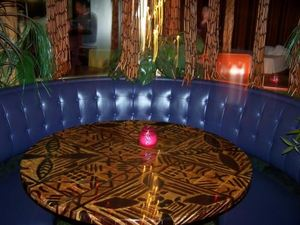 Blue booth at Mai Kai Lounge in Tecumseh