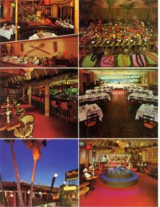 Rare postcard with six views of The Tahitian in Studio City