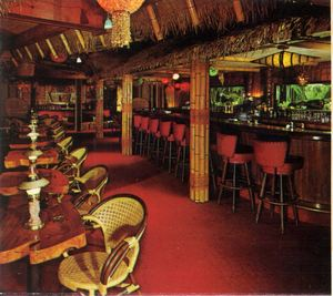 Detail of a postcard, showing the bar at The Tahitian in Studio City