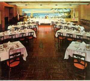 Detail from a postcard, showing the banquet room at The Tahitian in Studio City