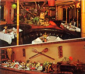 Detail from a postcard, showing the dining room and a buffet table at The Tahitian in Studio City