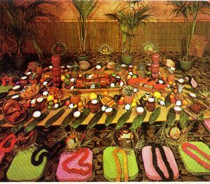 Detail from a postcard, showing a luau spread at The Tahitian in Studio City