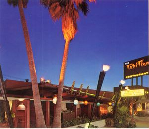 Detail from a postcard, showing the exterior of The Tahitian in Studio City