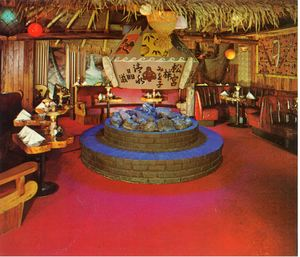 Detail from a postcard, showing the fireplace room at The Tahitian in Studio City