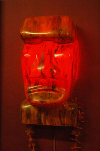 Moai light fixture at Tiki Heart Cafe & Shop in Berlin