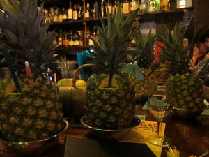Drinks in pineapples for the Domingo de Pi�a event at Smuggler's Cove in San Francisco